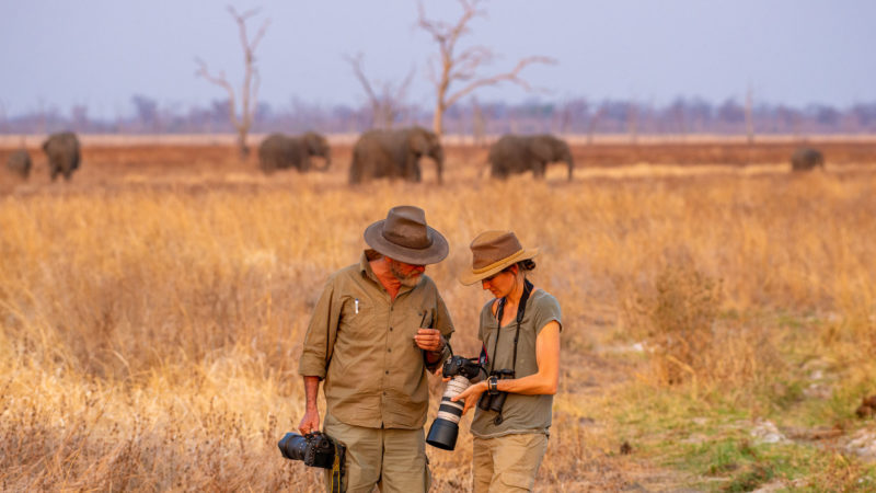 Remote Africa Safaris guides, Brian Jackson and Jennifer Coppinger, ajusting their cameras while a group of elephants stroll past in the background
