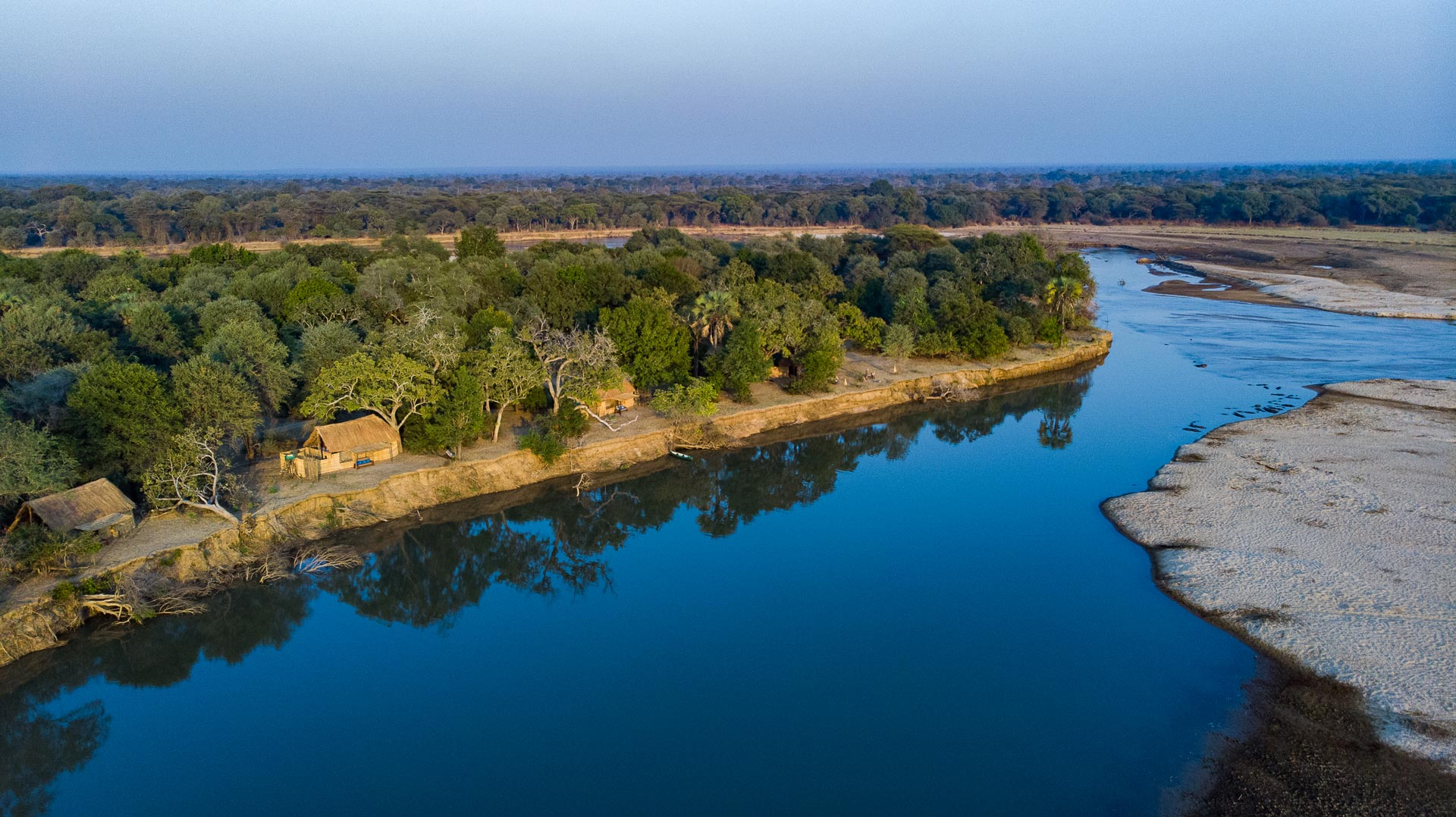 An arial view of Takwela Camp and Luangwa river in North Luangwa, Zambia