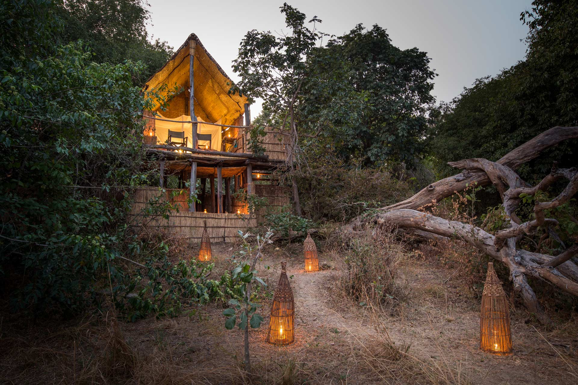 A tree house with an open plan view of Chikoko Trails Camp on the west bank of South Luangwa National Park in Zambia