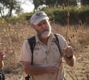Driving, walking and photographic guide, Bryan Jackson on a walking safari at Tafika Camp in Zambia