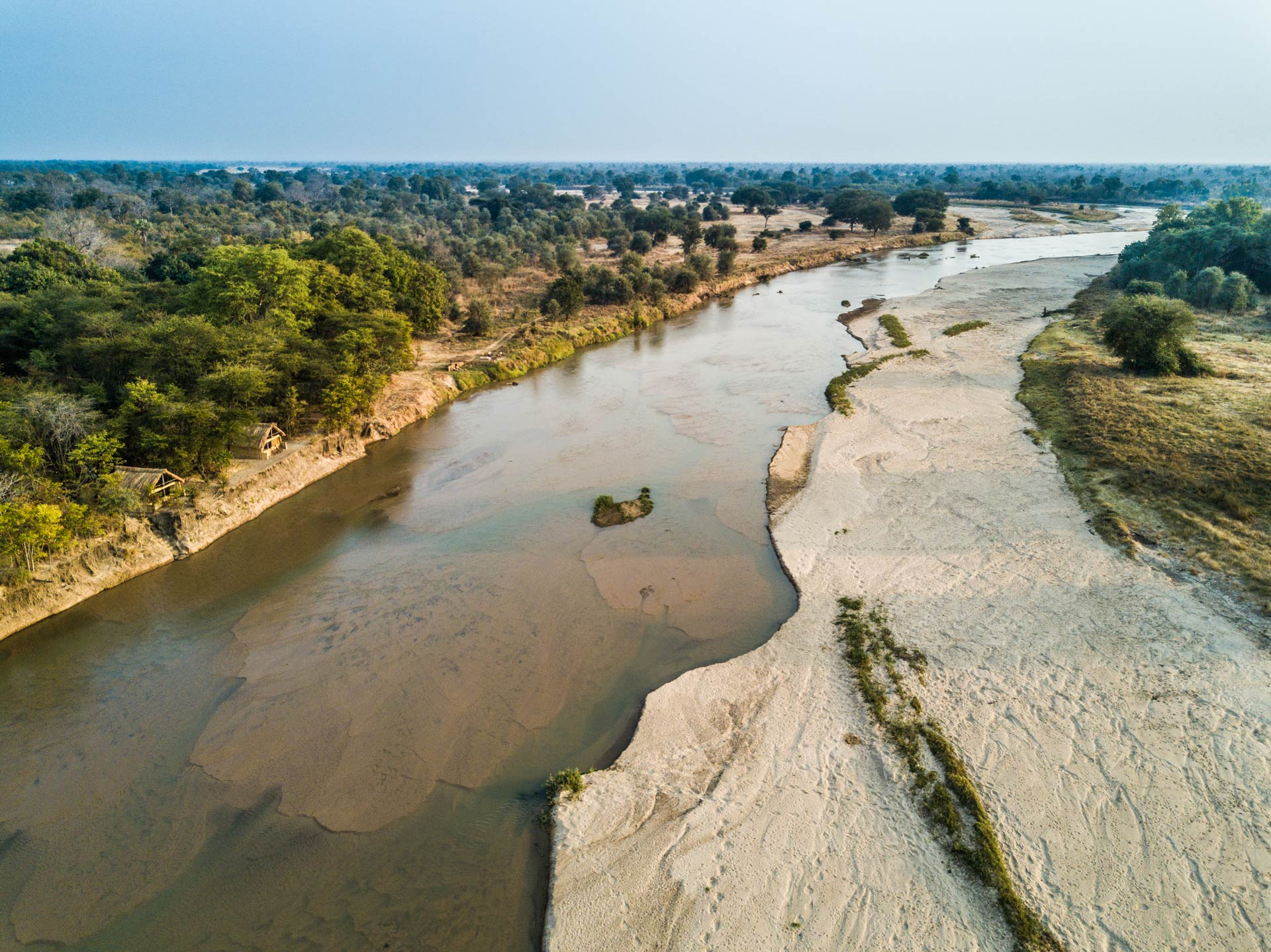 An arial view of Remote Africa Safaris Takwela Camp at the confluence of the Luangwa and Mwaleshi Rivers