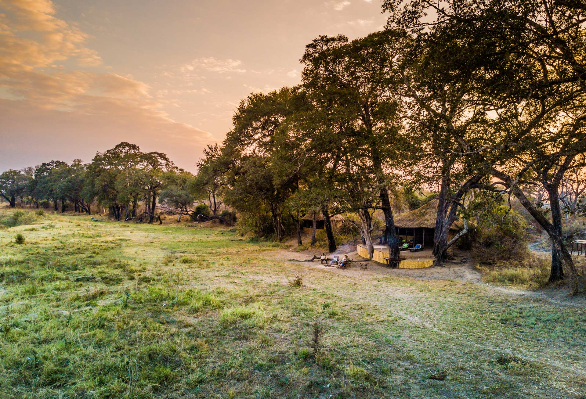 Sun setting behind Crocodile Camp in Zambia